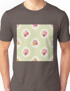 shabby chic, green,yellow,pink,red,white,polka dots, vintage,country chic,modern,trendy, Unisex T-Shirt