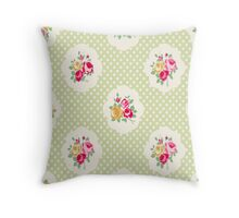 shabby chic, green,yellow,pink,red,white,polka dots, vintage,country chic,modern,trendy, Throw Pillow
