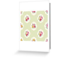 shabby chic, green,yellow,pink,red,white,polka dots, vintage,country chic,modern,trendy, Greeting Card