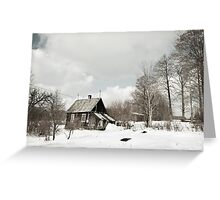 dilapidated wooden house cottage in winter  Greeting Card