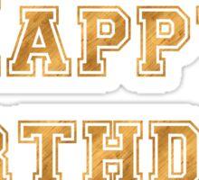 Gold Happy Birthday Sticker