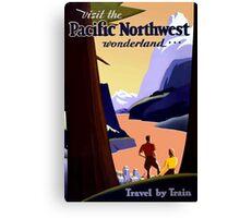 Vintage Railroad Pacific Northwest Wonderland Travel Canvas Print