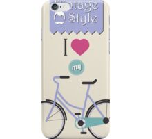 Vintage hipster bicycle, I love my bike iPhone Case/Skin