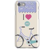 Vintage hipster bicycle, I love my bike iPhone Case/Skin