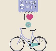 Vintage hipster bicycle, I love my bike by BlueLela