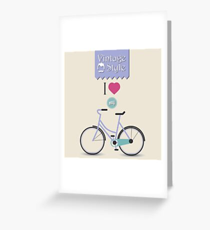 Vintage hipster bicycle, I love my bike Greeting Card