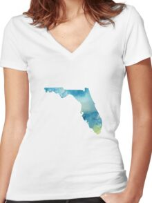 Florida Blue and Green Watercolor Women's Fitted V-Neck T-Shirt