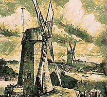 A digital painting of  Grist Wind mills at East Hampton, Suffolk County, New York 1872 by Dennis Melling