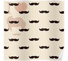 Vintage retro hipster mustache wallpaper Poster