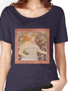 vintage lady in corset, art nouveau, floral,elegant,chic,reproduction,modern,trendy Women's Relaxed Fit T-Shirt
