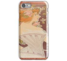 vintage lady in corset, art nouveau, floral,elegant,chic,reproduction,modern,trendy iPhone Case/Skin