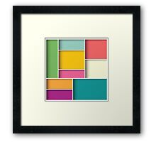 Abstract 3d square background, colorful tiles, geometric Framed Print
