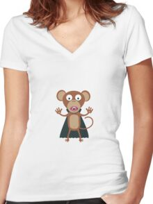 Halloween Vampire Monkey Women's Fitted V-Neck T-Shirt