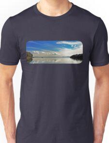 Brilliant Blue and White Cloud Waterscape. Unisex T-Shirt