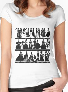 fashion for from 1800 - 1900,vintage clothing, style,elegant,chic,black on white, illustration Women's Fitted Scoop T-Shirt