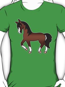 Brown Trotting Cartoon Horse T-Shirt