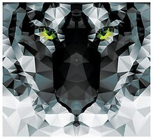 Geometric polygon white tiger head, triangle pattern design by BlueLela