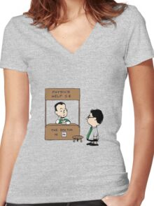 TBBT PEANUTS CHARLIE BROWN Women's Fitted V-Neck T-Shirt