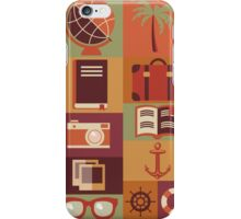 Collection of flat vintage retro travel icons, flat design iPhone Case/Skin