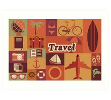 Collection of flat vintage retro travel icons, flat design Art Print