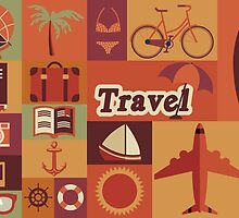 Collection of flat vintage retro travel icons, flat design by BlueLela