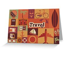 Collection of flat vintage retro travel icons, flat design Greeting Card