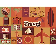 Collection of flat vintage retro travel icons, flat design Photographic Print