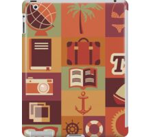Collection of flat vintage retro travel icons, flat design iPad Case/Skin