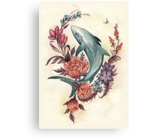 Floral Shark Canvas Print