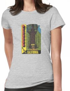 Redwood Highway Drive Thru Tree California Vintage Travel Decal Womens Fitted T-Shirt