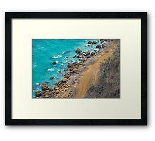 Aerial View Pacific Ocean Coastline Puerto Lopez Ecuador Framed Print