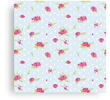 shabby chic, pale blue,white,polka dots, small flowers, pink,green,vintage,country chic, modern,trendy,girly Canvas Print