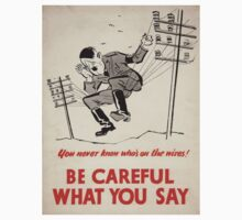 Vintage poster - Be Careful What You Say One Piece - Long Sleeve