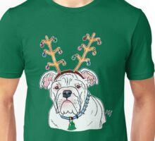 White Holiday Bulldog Unisex T-Shirt