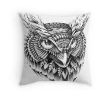 Ornate Owl Head Throw Pillow