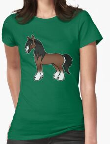 Brown Gypsy Vanner Clydesdale Shire Cartoon Horse T-Shirt