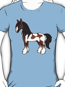 Brown Piebald Gypsy Vanner Clydesdale Shire Cartoon Horse T-Shirt