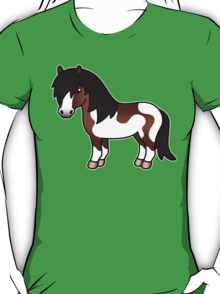 Brown Pinto Shetland Pony Cartoon Illustration T-Shirt