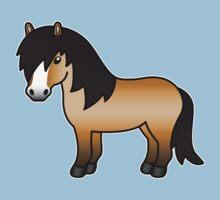 Buckskin Shetland Pony Cartoon Illustration by destei