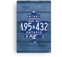 Toronto Maple Leafs Vintage Art with License Plates - Blue Canvas Print