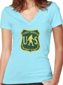 US Forest Service Bigfoot  Women's Fitted V-Neck T-Shirt