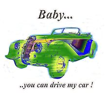 Classic sports car design with tag line by Tom Conway