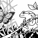 Frog and Butterfly Black and White by M McKeithen
