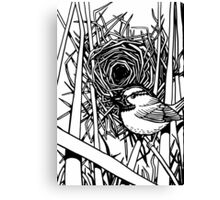 Bird with Nest Black and White Canvas Print