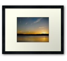 The Sun is Setting on the lake at Primbee Framed Print