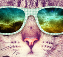 Hipster Cat With Glasses (Space Nebula 2) Sticker