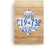 Toronto Maple Leafs Logo with License Plates  - Natural Stain Canvas Print