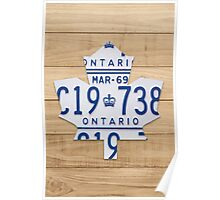 Toronto Maple Leafs Logo with License Plates  - Natural Stain Poster