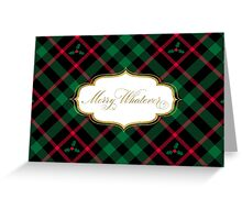 Merry Whatever - Holly Plaid Greeting Card
