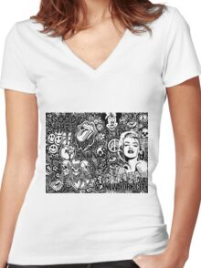Trendy Doodle ft. Drake, Marilyn, nyc, skulls...  Women's Fitted V-Neck T-Shirt